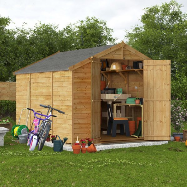10x8 Keeper Overlap Apex Wooden Shed - PT Windowless BillyOh