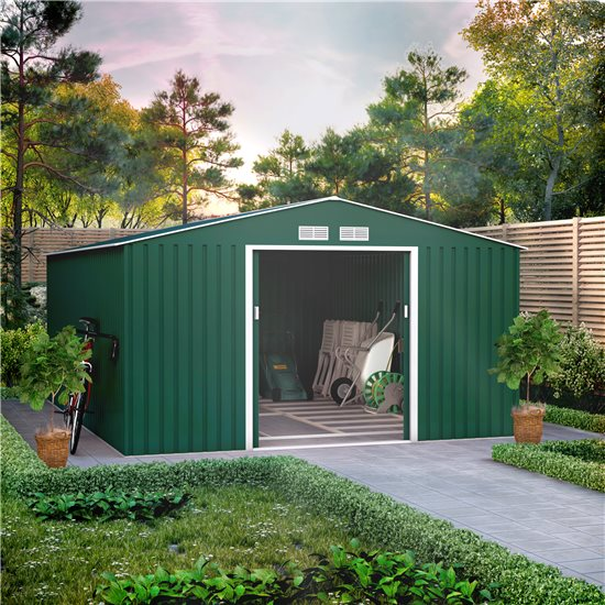 11x14 BillyOh Ranger Apex Metal Shed With Foundation Kit - Dark Green