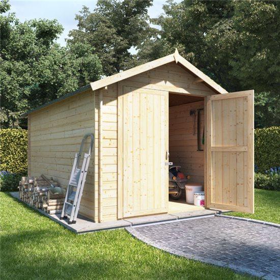 12 x 8 log cabin BillyOh Heavy Duty Apex Windowless Log Cabin Store - 28mm