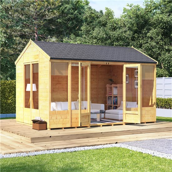 12x8 Petra Tongue and Groove Reverse Apex Summerhouse -BillyOh