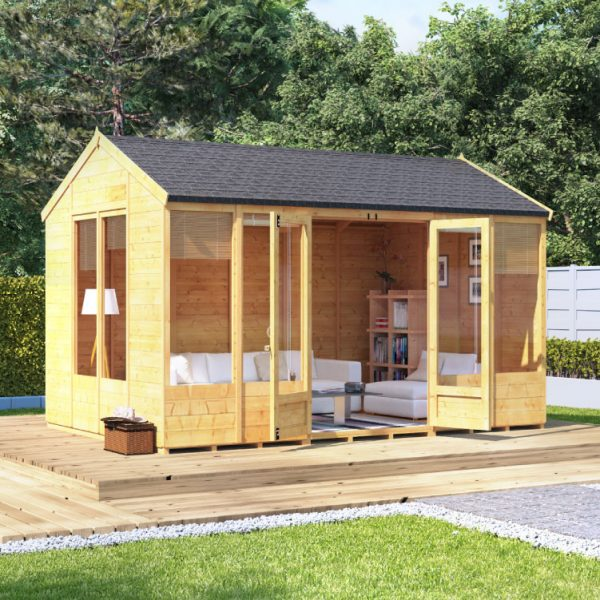 12x8 Petra Tongue and Groove Reverse Apex Summerhouse -PT BillyOh