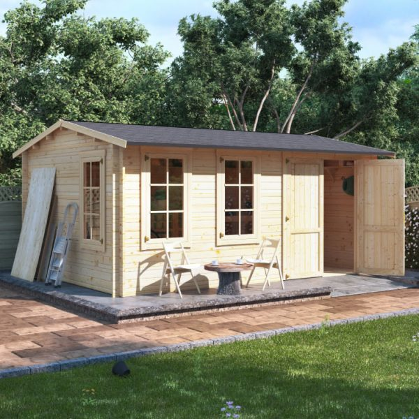 5.0m x 3.5m BillyOh Traditional Log Cabin Workshop - 44mm