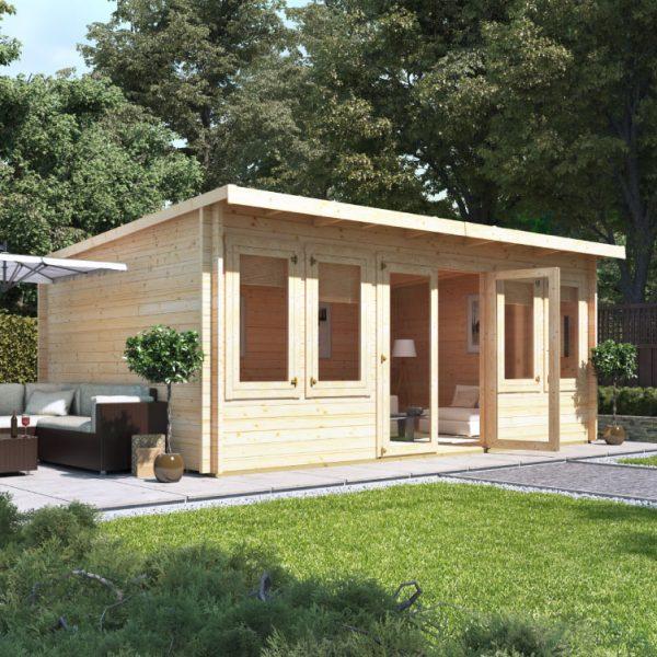 5.5m x 4.0m BillyOh Fraya Pent Log Cabin - 44mm