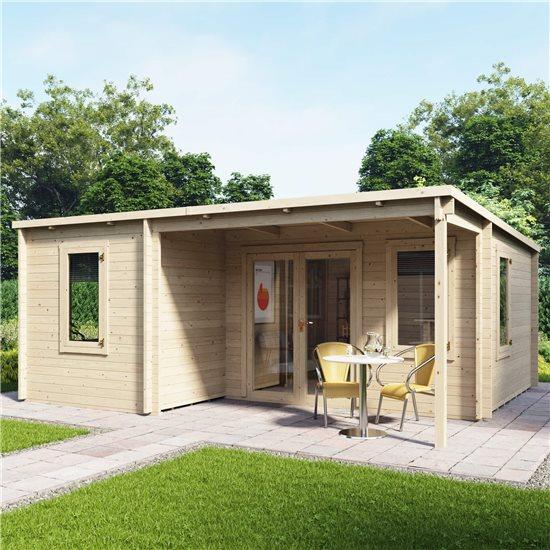 5.7m x 4.8m BillyOh Cove Multiroom Log Cabin - 44mm