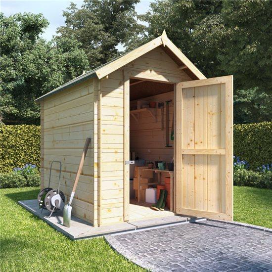 8 x 6 log cabin BillyOh Heavy Duty Apex Windowless Log Cabin Store - 19mm