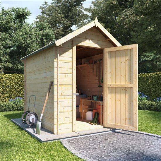 8 x 6 log cabin BillyOh Heavy Duty Apex Windowless Log Cabin Store - 28mm