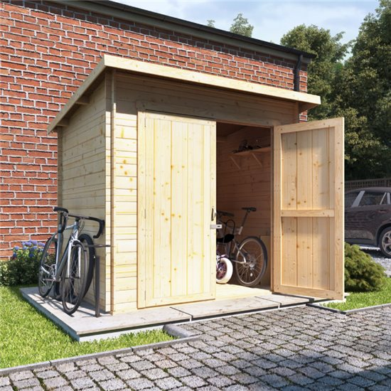 8x6 log cabin ouble oor BillyOh Pent Log Cabin Windowless Heavy Duty Bike Store Range - 19mm