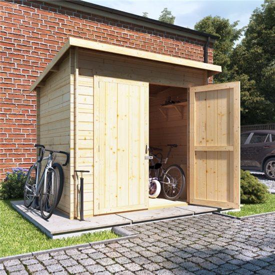 8x6 log cabin ouble oor BillyOh Pent Log Cabin Windowless Heavy Duty Bike Store Range - 28mm