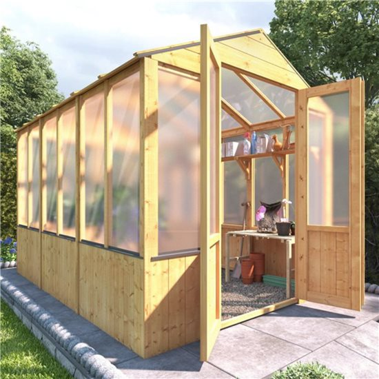 BillyOh 4000 Lincoln Wooden Polycarbonate Greenhouse - 9 x 6 Lincoln Wooden Greenhouse