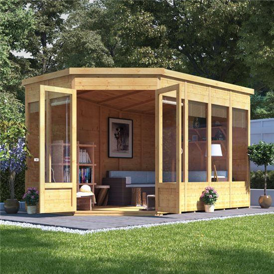 BillyOh Renna Tongue and Groove Corner Summerhouse - 11x7 Doors on Left