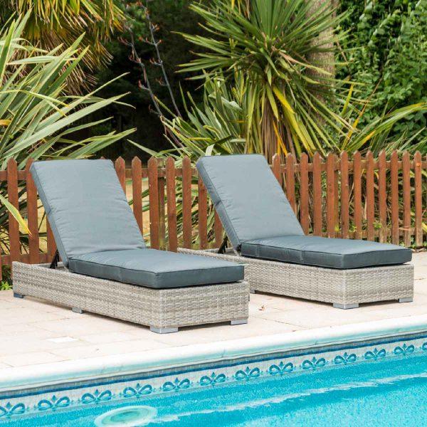 Glencrest Katie Blake Sandringham Double Sun Lounger Set - Grey