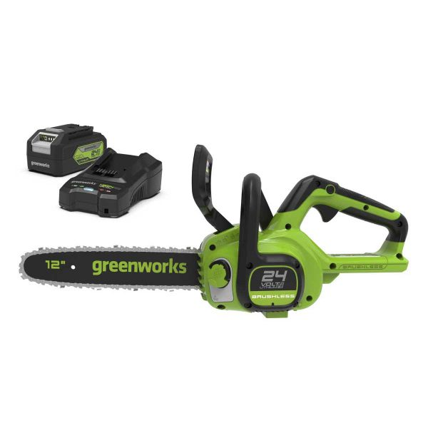Greenworks 24V Cordless 30cm Brushless Motor Chainsaw with 4Ah Battery and Charger