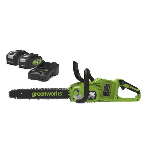 Greenworks 48v Cordless 36cm Brushless Motor Chainsaw with 2 x 24v 4Ah Battery and Charger