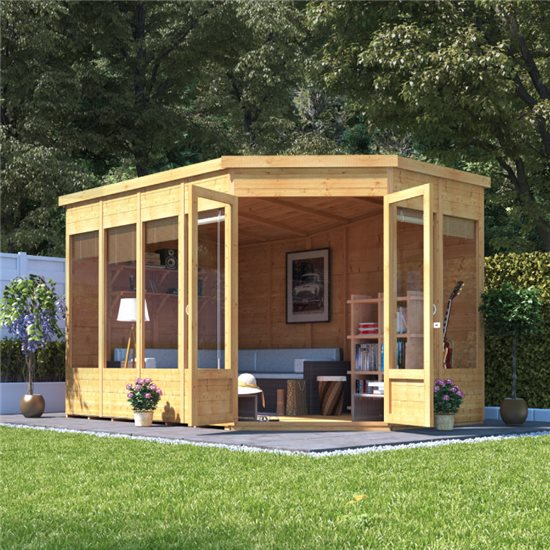 Renna Tongue and Groove Corner Summerhouse - 11x7 Doors on Right - BillyOh