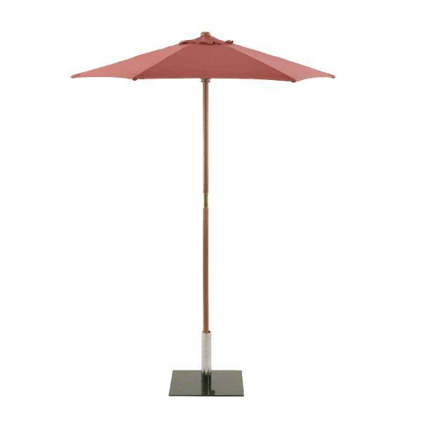 Sturdi Round 2m Wood Parasol - Terracotta