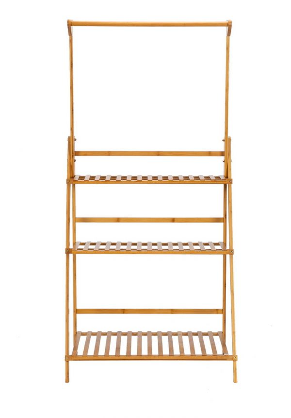 100% Bamboo Plant Frame Three Layers, Balcony Bamboo Frame Folding With Hanging Rod Flower Frame, Indoor Office Balcony, Living Room, Outdoor Garden