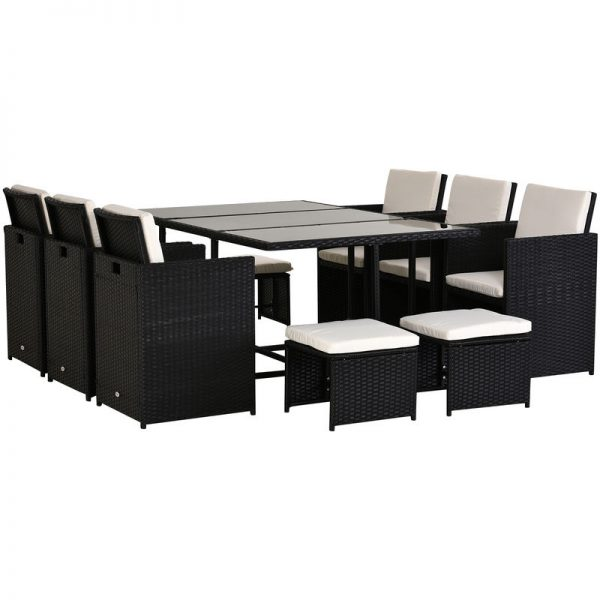 11PC Rattan Garden Furniture Outdoor Patio Dining Table Set Weave Wicker 10 Seater Stool Black - Outsunny
