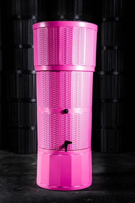 150L Rattan Wicker Effect Polybutt Water Butt - Pink