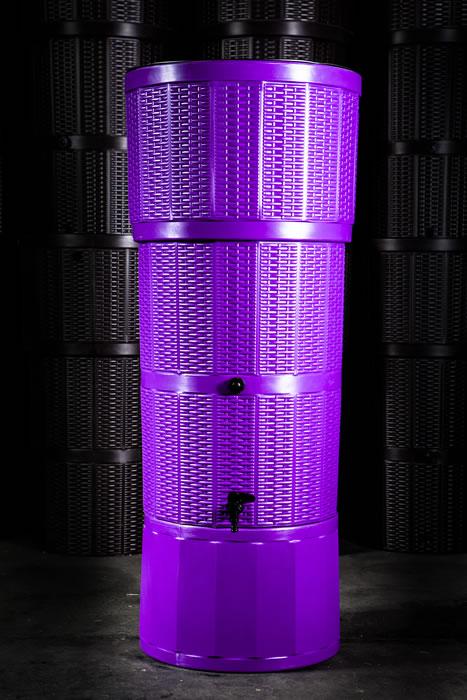 150L Rattan Wicker Effect Polybutt Water Butt - Purple