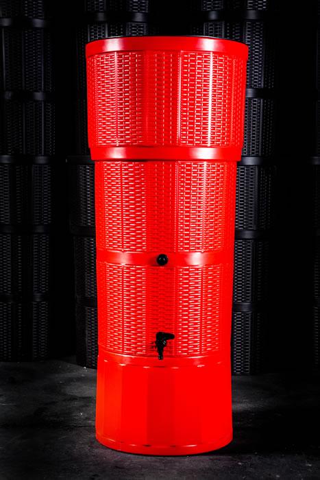 150L Rattan Wicker Effect Polybutt Water Butt - Red