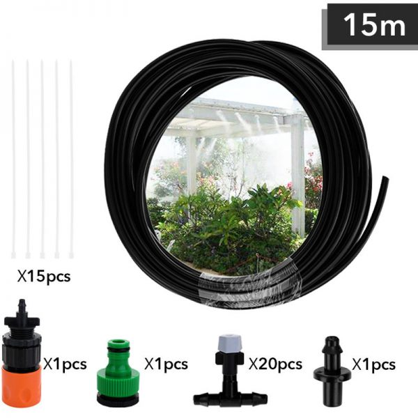 15m Adjustable Misting Cooling Irrigation System Watering Kit Hose Nozzle Plug Connecter Fittings