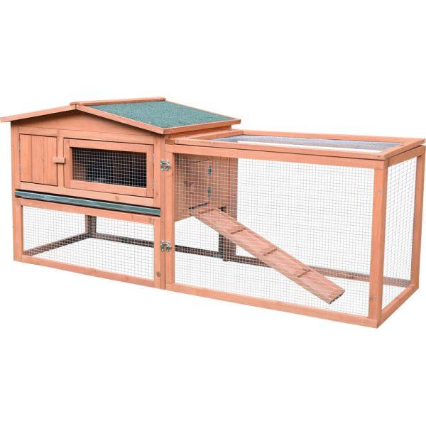 2 Floor Wooden Rabbit Hutch Cage Chicken Coop Outdoor Backyard - Pawhut