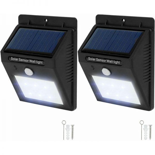 2 LED solar wall lights with motion detector - garden lights, solar lights, outdoor lights - black