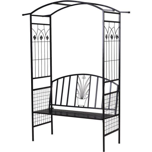 2-Seater Garden Arch Bench Metal Frame Vintage Details Side Trellis - Outsunny