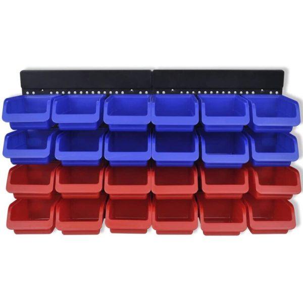 2 pcs Blue & Red Wall Mounted Garage Tool Organiser QAH03970