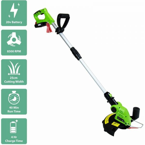 20V Portable Cordless Grass Trimmer & Edger Lawn Cutter - Green - Green - Charles Bentley