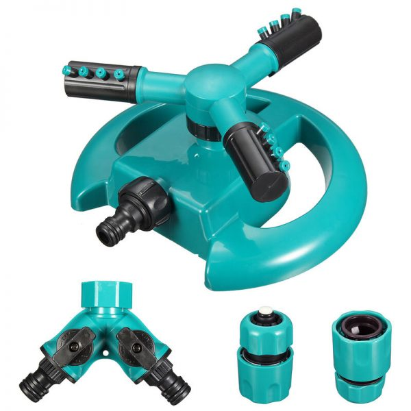 3 Arm Lawn Garden Automatic Water Sprinkler 360 Degree Rotating Sprinkler - Mohoo