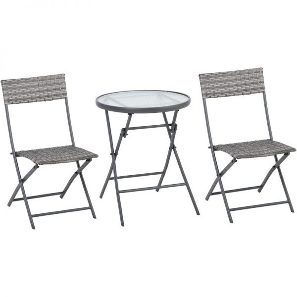 3 PCs Patio Wicker Bistro Set Foldable Table and Chair Set Outdoor - Outsunny