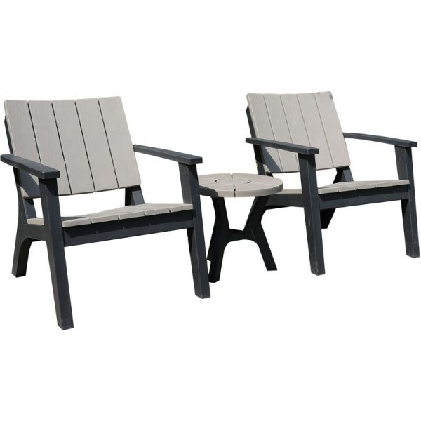 3 Pcs Patio Bistro Set Outdoor Garden Furniture Set w/ Table Chairs - Outsunny