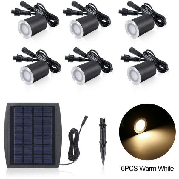 3.2V 0.2W 6PCS Solar Deck Lights IP65 Waterproof Solar Garden Light, Warm white & 6pcs
