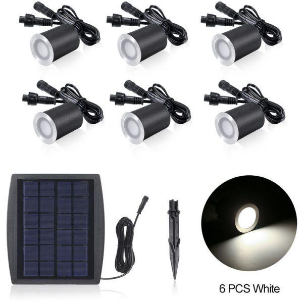 3.2V 0.2W 6PCS Solar Deck Lights IP65 Waterproof Solar Garden Light, White & 6pcs