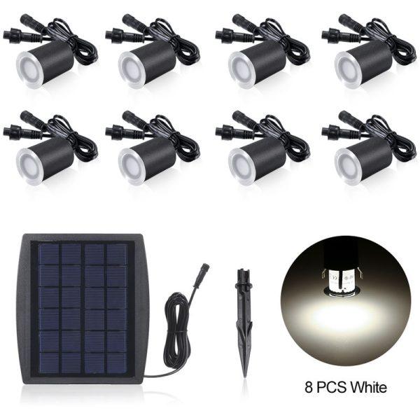 3.2V 0.2W 6PCS Solar Deck Lights IP65 Waterproof Solar Garden Light, White & 8pcs