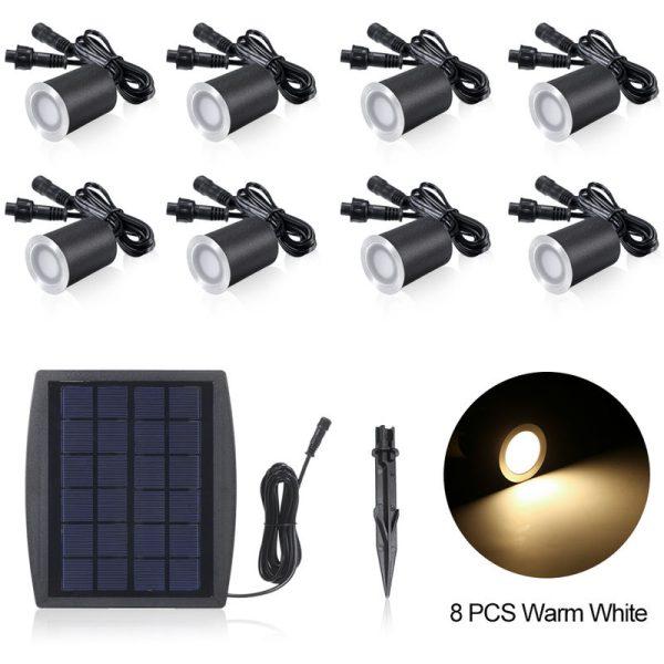 3.2V 0.2W 8PCS Solar Deck Lights IP65 Waterproof Solar Garden Light Sensing Warm White
