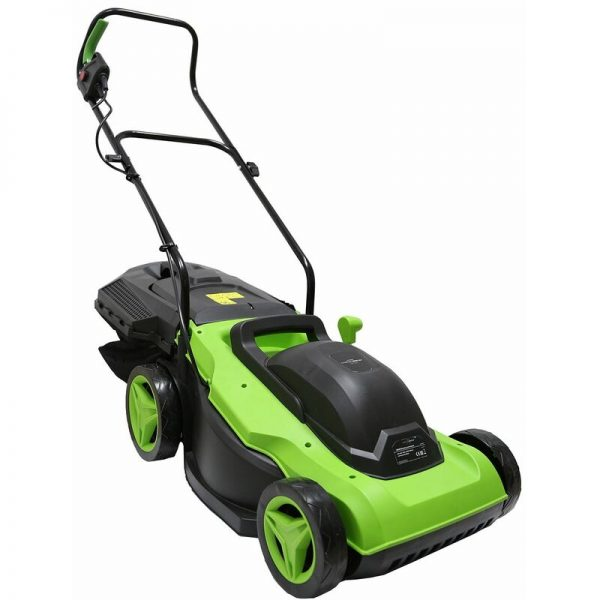 38cm 1800W Electric Wheeled Lawnmower 50L Collection Bag - Green - Charles Bentley