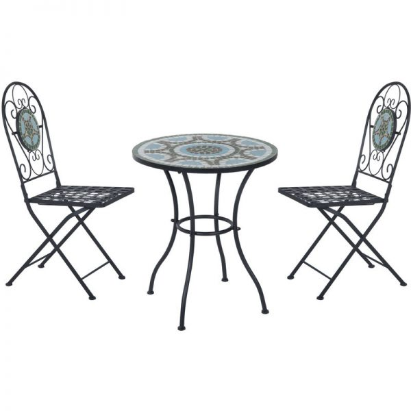 3pc Bistro Set Metal Dining Set Mosaic Garden Table 2 Seater Folding Chairs Patio Furniture Outdoor - Outsunny