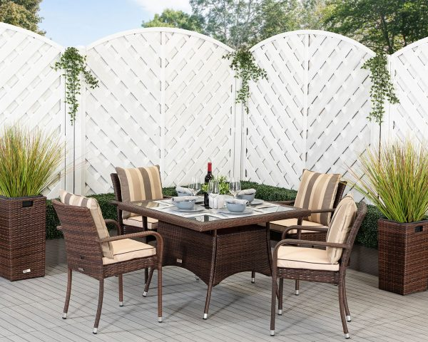 4 Seat Rattan Garden Dining Set With Square Dining Table in Brown - Roma - Rattan Direct