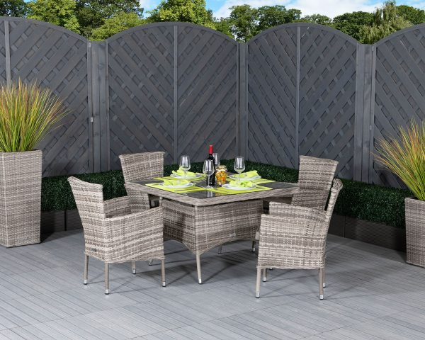 4 Seat Rattan Garden Dining Set With Square Dining Table in Grey - Cambridge - Rattan Direct