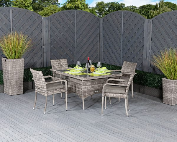 4 Seat Rattan Garden Dining Set With Square Dining Table in Grey - Roma - Rattan Direct