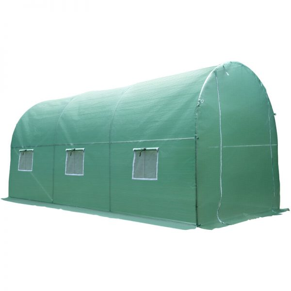 4 x 2m Greenhouse Walk-in Polytunnel Garden Steel Frame w/ Zipped Door - Outsunny