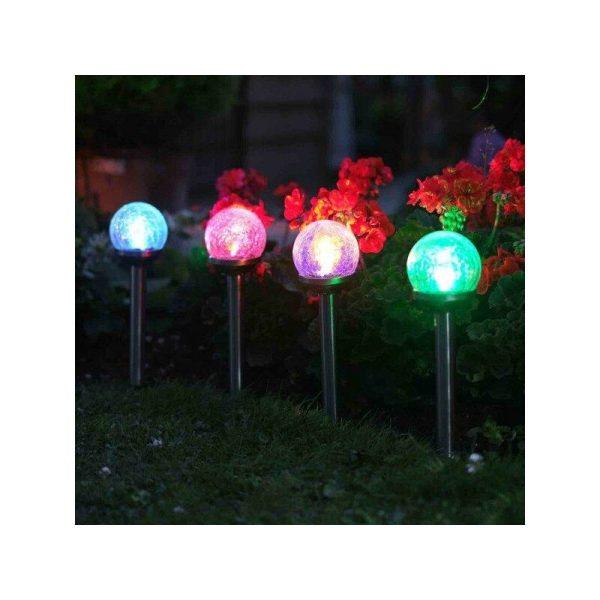 5 x Smart Garden Solar Colour Changing Rainbow Crackle Globe Orb Garden Lights
