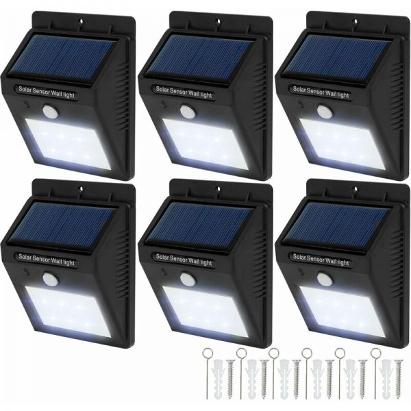 6 LED solar wall lights with motion detector - garden lights, solar lights, outdoor lights - black