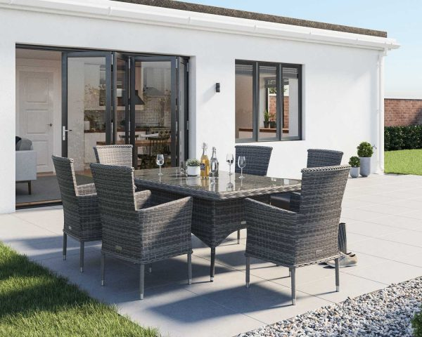 6 Seat Rattan Dining Set With Rectangular Dining Table Set in Grey - Cambridge - Rattan Direct