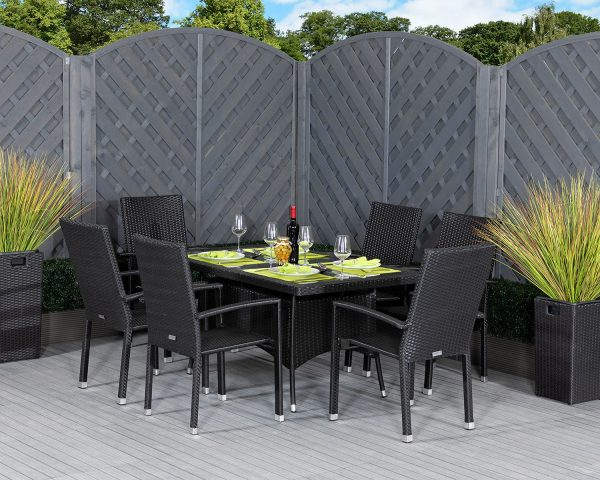6 Seat Rattan Garden Dining Set With Large Rectangular Dining Table in Black - Rio - Rattan Direct