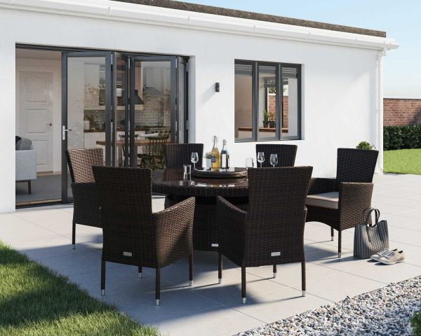 6 Seat Rattan Garden Dining Set With Large Round Dining Table Set in Brown - Cambridge - Rattan Direct