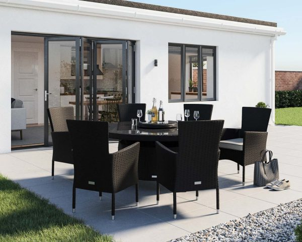 6 Seat Rattan Garden Dining Set With Large Round Dining Table in Black & White - Cambridge - Rattan Direct