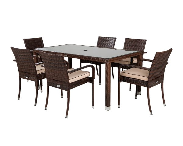 6 Seat Rattan Garden Dining Set With Open Leg Rectangular Dining Table in Brown - Roma - Rattan Direct